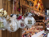 Christmas Decorations of Angels in Glass Balls at Stall, Christmas Market at Schlosspark, Austria Photographic Print by Richard Nebesky