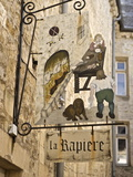 Inn Sign in the Old Town, Bayeux, Calvados, Normandy, France, Europe Photographic Print by Guy Thouvenin
