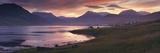 Sunset on Reydarfjordur Town, in the East Fjords Region (Austurland), Iceland, Polar Regions Reproduction photographique par Patrick Dieudonne