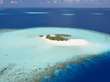 Aerial View of Small Island, Maldives, Indian Ocean, Asia Photographic Print by Sakis Papadopoulos