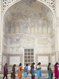 Indian Women Standing in Line at Taj Mahal, UNESCO World Heritage Site, Agra, Uttar Pradesh, India Photographic Print by Ian Trower
