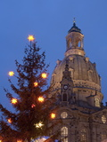 Christmas Tree and Frauen Church at Christmas Market at Twilight, Dresden, Germany Photographic Print by Richard Nebesky