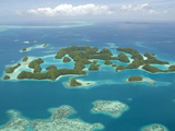 Seventy Islands (Ngerukewid Islands Wildlife Preserve), Forest-Covered Limestone Rock, Palau Photographic Print by Tony Waltham