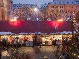 Stalls at Christmas Market in the Evening, Old Town Square, Stare Mesto, Prague, Czech Republic Photographic Print by Richard Nebesky
