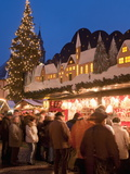 Christmas Market With Decorated Stall, People and Christmas Tree, Annaberg-Bucholz, Germany Photographic Print by Richard Nebesky
