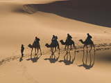 Camels in the Dunes, Merzouga, Morocco, North Africa, Africa Photographic Print by Michael Runkel