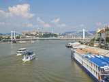View of Elizabeth Bridge (Erzebet Hid), and Cruise Boats on the River Danube, Budapest, Hungary Photographic Print by Neale Clarke