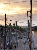 View Along Traditional Cobbled Street at Sunset, Trinidad, Cuba, West Indies, Central America Photographic Print by Lee Frost