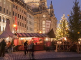 Christmas Market Stalls in Front of Frauen Church and Christmas Tree at Twilight, Dresden Photographic Print by Richard Nebesky