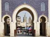 City Gate of Bab Boujeloud (Blue Gate), Medina, Fez (Fes), Morocco, North Africa, Africa Photographie par Guy Edwardes