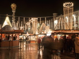Stalls of Christmas Market, With Baroque Trinity Column in Background, Hauptplatz, Linz, Austria Photographic Print by Richard Nebesky
