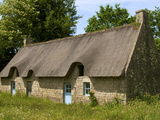 Typical Ancient Breton Thatched House, Near Lorient, Morbihan, Brittany, France, Europe Photographic Print by Guy Thouvenin