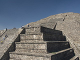 Tourists Climbing Stairway, Pyramid of the Moon, Archaeological Zone of Teotihuacan, Mexico Photographic Print by Richard Maschmeyer