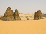 Strange Rock Formation La Vache Qui Pleure (The Cow That Cries), Near Djanet, Algeria, Africa Photographic Print by Michael Runkel