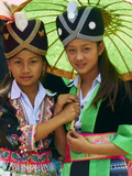 Young Hmong Women in Traditional Dress, Lao New Year Festival, Luang Prabang, Laos, Indochina Photographic Print