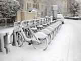 Rows of Hire Bikes in Snow, Notting Hill, London, England, United Kingdom, Europe Photographic Print by Mark Mawson