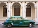 Classic Green American Car Parked Outside the National Ballet School, Havana, Cuba Photographic Print by Lee Frost