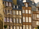 Typical Half Timbered Houses, Old Town, Rennes, Brittany, France, Europe Fotoprint van Guy Thouvenin