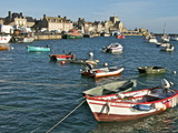 Harbour and Fishing Boats With Houses and Church in the Background, Barfleur, Normandy, France Photographic Print by Guy Thouvenin