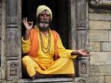 Portrait of Sadhu, Pashupatinath Temple, Kathmandu, Nepal, Asia Photographic Print by Jochen Schlenker