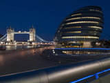 Tower Bridge and City Hall Dusk, London, England, United Kingdom, Europe Photographic Print by Charles Bowman