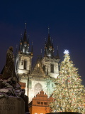 Christmas Tree, Gothic Tyn Church and Statue of Jan Hus, Old Town Square, Stare Mesto, Prague Photographic Print by Richard Nebesky