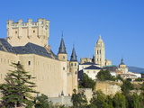 Segovia Castle and Gothic Style Segovia Cathedral Built in 1577, Segovia, Madrid, Spain, Europe Photographic Print by Christian Kober