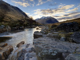 Winter View Along Partly-Frozen River Etive Towards Distant Mountains, Rannoch Moor, Scotland Photographic Print by Lee Frost
