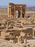 The Arch of Trajan at the Roman Ruins, Timgad, Algeria, North Africa, Africa Photographic Print by Michael Runkel