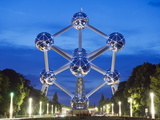 1958 World Fair, Atomium Model of An Iron Molecule, Illuminated at Night, Brussels, Belgium, Europe Photographic Print by Christian Kober