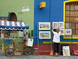 Vendor on El Caminito Street in La Boca District of Buenos Aires City, Argentina, South America Lámina fotográfica por Cummins, Richard