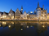 Night Time Reflection of Waterfront Town Houses, Ghent, Flanders, Belgium, Europe Photographic Print by Christian Kober