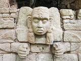 Sculpted Head Stone at Mayan Archeological Site, Copan Ruins, UNESCO World Heritage Site, Honduras Photographic Print by Christian Kober