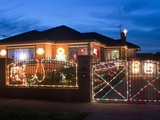 Christmas Decoration of Melbourne Suburban House at Twilight, Altona Suburb, Australia Photographic Print by Richard Nebesky