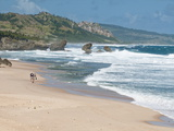 Mature Couple Walking on Bathsheba Beach, Barbados, Windward Islands, West Indies, Caribbean Photographic Print by Michael DeFreitas
