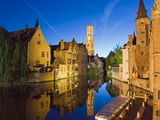 Reflection in Canal of Belfort (Belfry Tower), Old Town, Bruges, Flanders, Belgium Photographic Print by Christian Kober