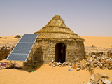 Traditional House With a Solar Panel in the Sahara Desert, Algeria, North Africa, Africa Fotografiskt tryck av Michael Runkel