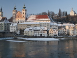 Baroque Michaelerkirche Church and Buildings at Confluence of Steyr and Enns Rivers, Austria Photographic Print by Richard Nebesky