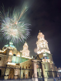 Firework Display Over the Cathedral, Morelia, Michoacan State, Mexico, North America Fotografie-Druck von Christian Kober