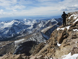 Hiker on Longs Peak Trail, Rocky Mountain National Park, Colorado, USA Photographic Print by Christian Kober