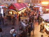 Stalls and People at Christmas Market at Dusk, Old Town Square, Stare Mesto, Prague Photographic Print by Richard Nebesky