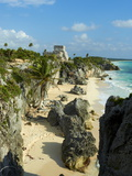 Tulum Beach and El Castillo Temple at Ancient Mayan Site of Tulum, Tulum, Quintana Roo, Mexico Photographic Print