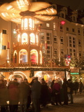 Hot Wine (Gluhwein) Stall With Nativity Scene on Roof at Christmas Market, Dresden, Germany Photographic Print by Richard Nebesky