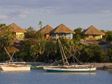 Bungalows and Fishing Boats at the Antsanitian Beach Resort, Mahajanga, Madagascar Photographic Print by Michael Runkel