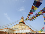 Pigeons and Prayer Flags on Boudha Stupa (Chorten Chempo), Boudhanath, Kathmandu, Nepal, Asia Photographic Print by Christian Kober