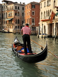 Evening Picture of a Gondolier on the Grand Canal, Venice, Veneto, Italy, Europe Photographic Print by Peter Richardson