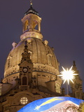 Nativity Scene at Christmas Market in Front of Frauen Church, Neumarkt, Dresden, Germany Photographic Print by Richard Nebesky