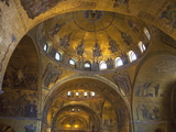 Interior of St. Mark's Basilica with Golden Byzantine Mosaics Illuminated, Venice Photographic Print by Peter Barritt