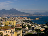 Cityscape and Mount Vesuvius, Naples, Campania, Italy, Europe Photographic Print by Charles Bowman