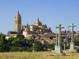 Cemetery Crosses and Gothic Style Segovia Cathedral Dating From 1577, Segovia, Madrid, Spain Photographic Print by Christian Kober